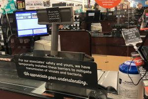 Harmons Grocery stores put up glass barriers to protect workers during coronavirus pandemic