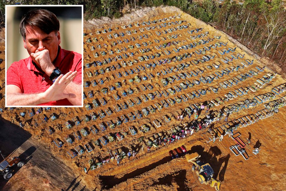 Brazil's giant coronavirus burial grounds exposed in shocking pics as leader still shrugs off bug as 'just a little flu'
