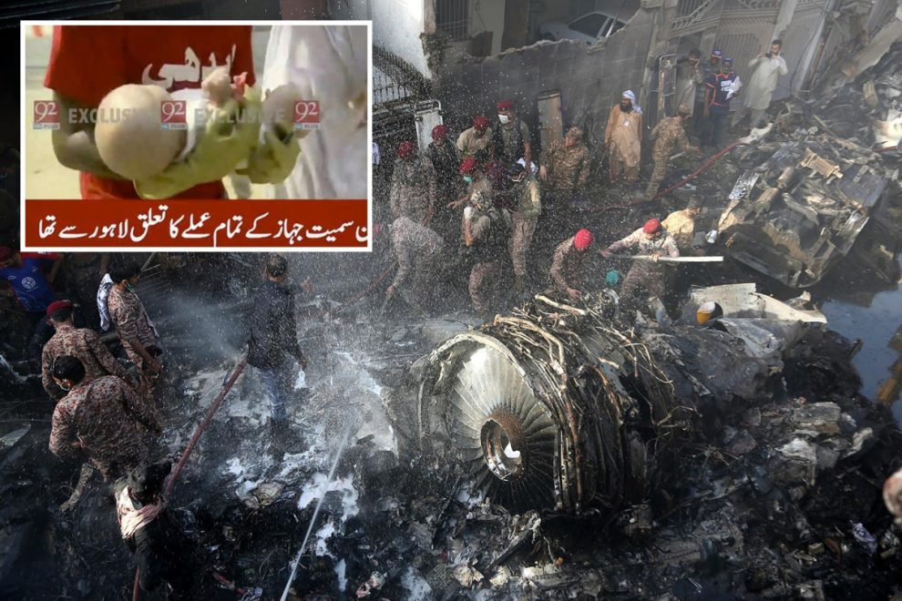 Pakistan plane crash – Incredible moment miracle baby is pulled ALIVE from crash rubble on live TV