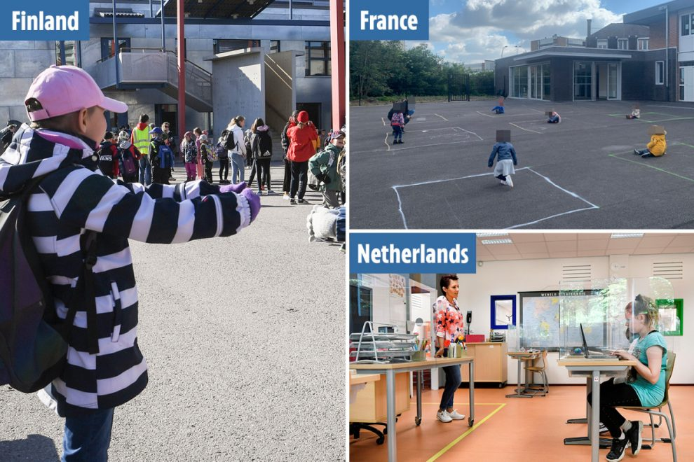 World's schools slowly reopen after coronavirus as kids greet each other with 'air hugs' and work behind plastic shields
