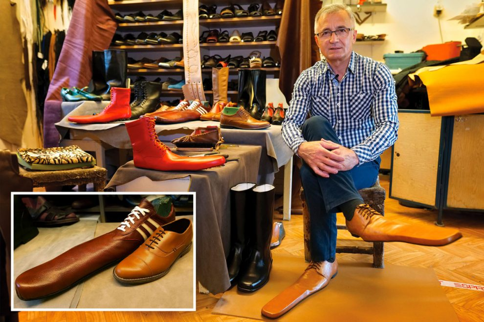 Shoemaker creates absolutely massive pair of shoes to keep people socially distanced