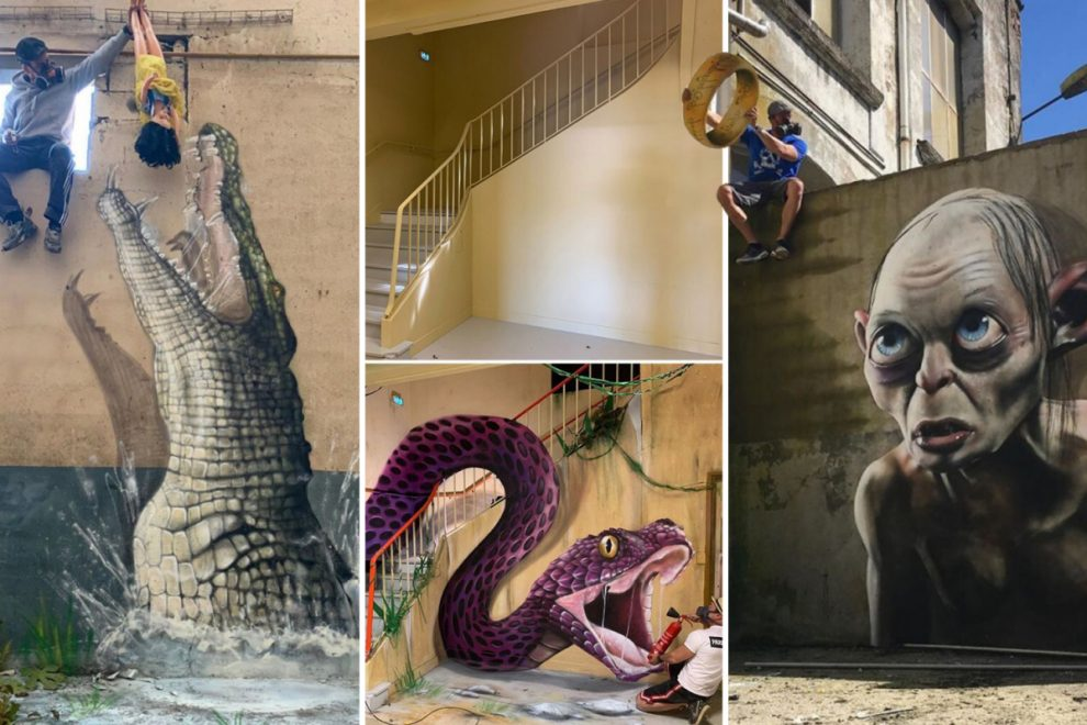 From crocodiles to sharks, these terrifying 3D murals have had passers-by running for cover