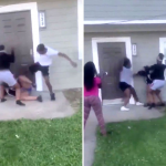 Sickening moment teens fly kick baby girl and attack her 'pregnant' mom in brawl in front yard