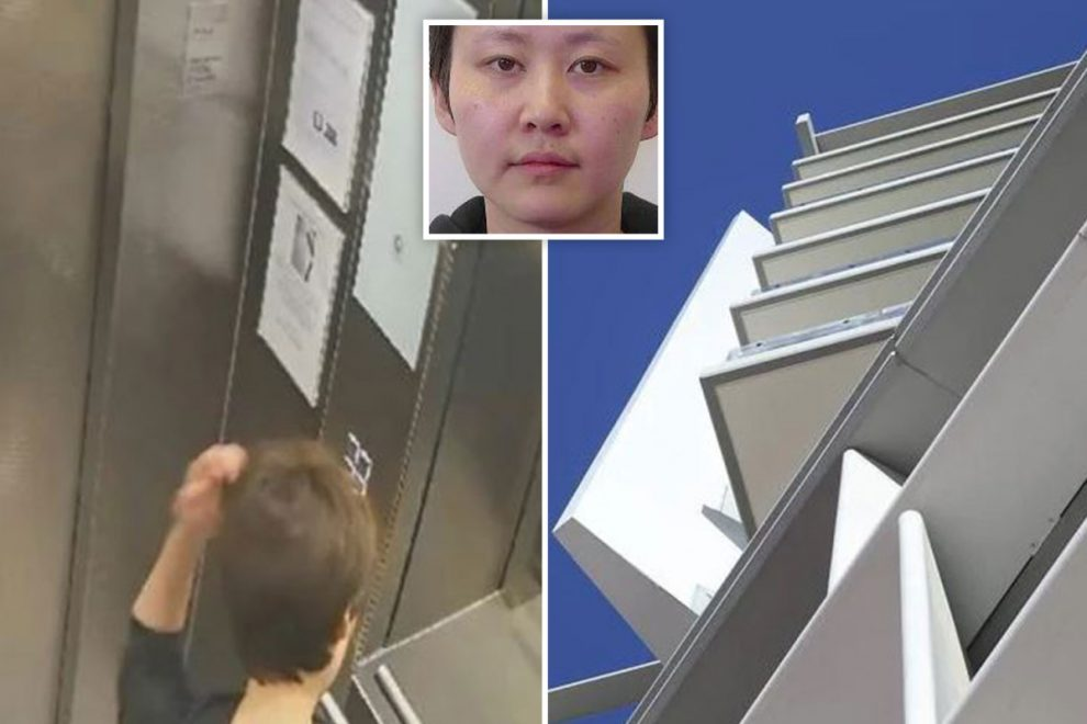 Chilling moment killer checks her hair in lift before stabbing ex-girlfriend 40 TIMES after victim fell from balcony