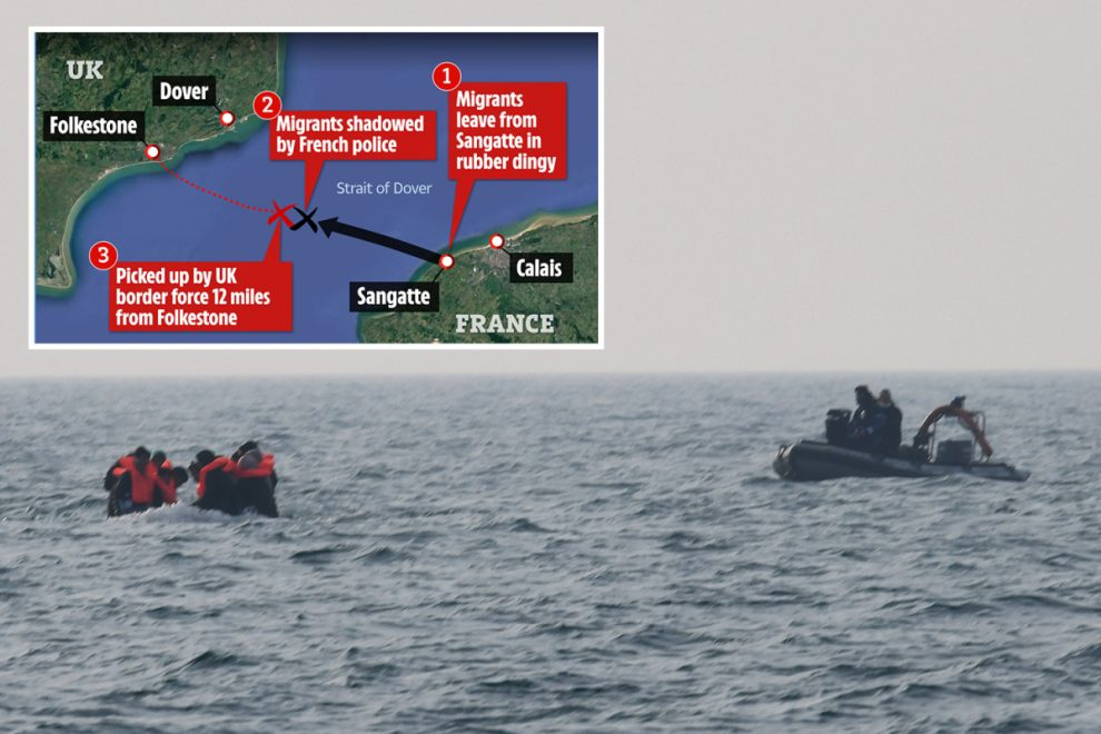 French border guards 'dump' sinking migrant dinghy in British waters for UK officials to rescue